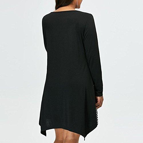 Imprimé Automne Et Au Lâche Rayé V Longues Casual Robe Poches En Jupe Taille Couture Grande Mini Manches Noir Élégant Mode Col Femmes Genou Printemps Asymétriques Adeshop Chic qB1wxSXpS