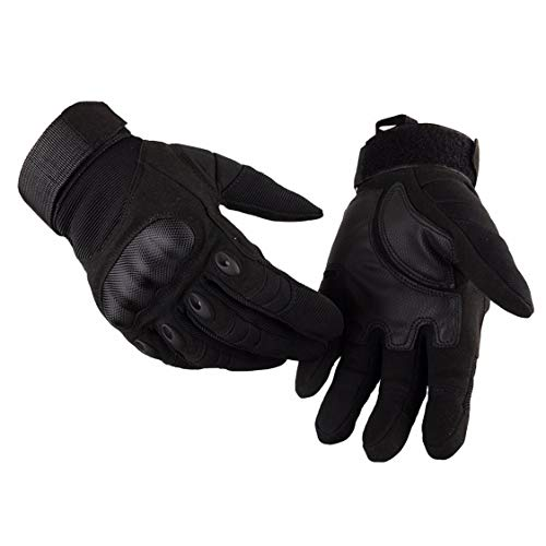 ADiPROD Tactical Gloves (1 Pair) Hard Knuckle Full Finger for Outdoor Shooting Army Airsoft Gear (Black, Large)