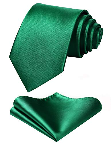(Mens Solid Green Tie Classic 3.4