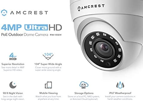 Amcrest 4MP UltraHD POE Security Camera, Outdoor IP Camera Eyeball Dome – IP67 Weatherproof, 98ft Night Vision, 118 FOV, Remote Live Viewing, 4-Megapixel 2688 TVL , IP4M-1055E White