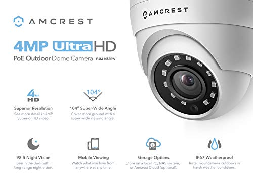 Amcrest 4MP UltraHD POE Security Camera, Outdoor IP Camera Eyeball Dome - IP67 Weatherproof, 98ft Night Vision, 118° FOV, Remote Live Viewing, 4-Megapixel (2688 TVL), IP4M-1055E (White)