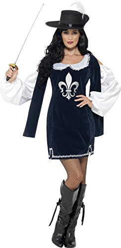 Musketeers Costume For Girls (Smiffy's Women's Musketeer Female Costume, Dress and Hat, Tales of Old England, Serious Fun, Size 6-8, 43416)