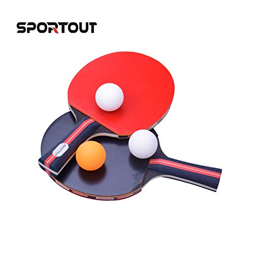 Easy-Room Table Tennis Racket Bat Set, Pingpong Paddle with 2 Bats and 3...