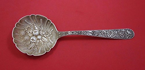 Repousse Berry Spoon - Repousse by Kirk Sterling Silver Berry Spoon Round with Fruit in Bowl 8 7/8