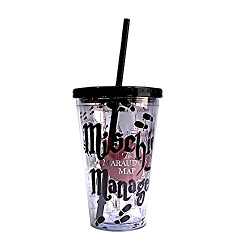 Harry Potter Cups - Silver Buffalo HP09087 Warner Brothers Harry Potter Mischief Managed Plastic Cold Cup with Lid and Straw, 16-Ounces