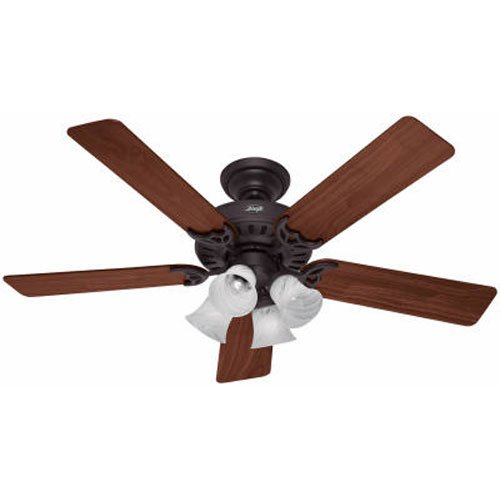 (Hunter Fan Company Hunter 53067 Studio Series 52-inch New Bronze Ceiling Fan with Five Walnut/Cherry Blades and Light Kit,)
