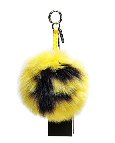Wiberlux Fendi Women's Pom-Pom Ball Charm Key Ring One Size Yellow by Wiberlux