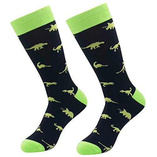 Mens Funny Casual Socks, KoolHour Unisex Jurassic Dinosaur Themed Cartoon Fun Design Cotton Tube Dress Novelty Gift Socks,Black ()