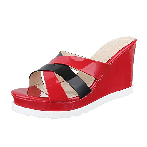 Ital-Design - zapatillas de baile (jazz y contemporáneo) Mujer rojo/negro