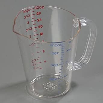 Quart Size Clear Polycarbonate Commercial Measuring Cup -- 1 each
