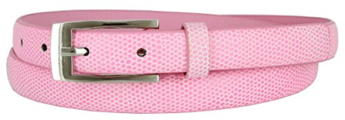 7045 Women's Skinny Lizard Embossed Leather Casual Dress Belt (Pink, Large) - Lizard Embossed Casual Belt