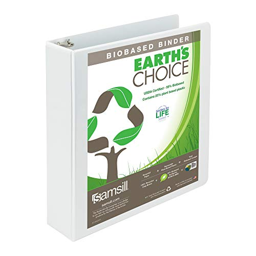 (Samsill Earth's Choice Biobased Durable 3 Ring View Binder, 2 Inch Round Ring, Up to 25% Plant Based Plastic, USDA Certified Biobased, White)