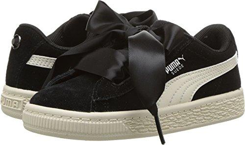 Girls Jewel - PUMA Girls' Suede Heart Jewel Kids Sneaker, Black-Whisper White, 9 M US Toddler