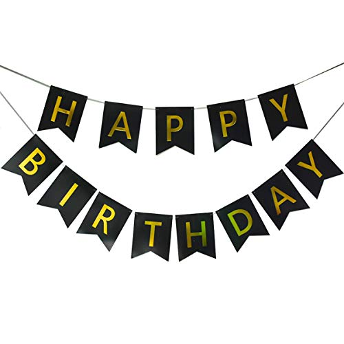 (Lovely Black Happy Birthday Banner,Birthday Party Decorations and Supplies,with Shiny Gold Letters, Beautiful, Swallowtail Bunting Flag Garland)
