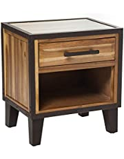 Christopher Knight Home Glendora Industrial Solid Wood Single Drawer End Table Nightstand, Brown