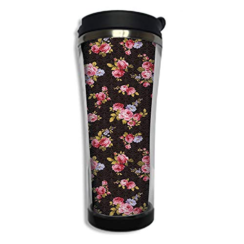 Travel Coffee Mug 3D Printed Portable Vacuum Cup,Insulated Tea Cup Water Bottle Tumblers for Drinking with Lid 14.2oz(420 ml)by,Rose,Pattern with Old Fashioned Corsage and Bouquets Antique Feminine Fl