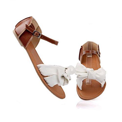 AalarDom Mujer Puntera Abierta Mini Tacón Material Suave Hebilla Sandalias de vestir, Amarillo, 36