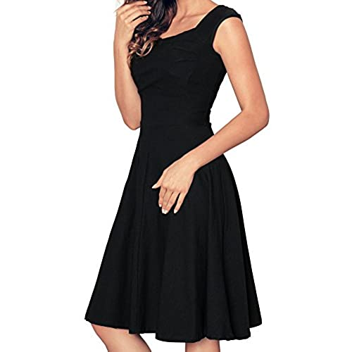 Angerella Retro Dresses For Women Vintage Black Party Cap Sleeve Dress