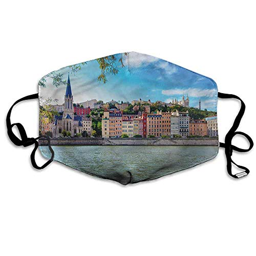 European Fashion Mouth Mask Lyon City Village France for Cycling Camping Travel W4