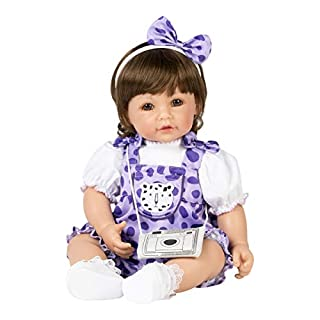 "Adora Toddler Doll ""Cheetah Girl"" with cheetah print purple romper with matching headband and camera style purse"