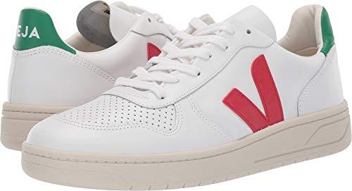 Veja Men's V-10 Leather Sneakers, Extra White/Pekin/Emeraude, 44 M EU ()