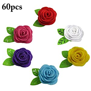 JUSTDOLIFE 60PCS Christmas Felt Flowers Decorative Artificial Rose DIY Craft Flowers 71