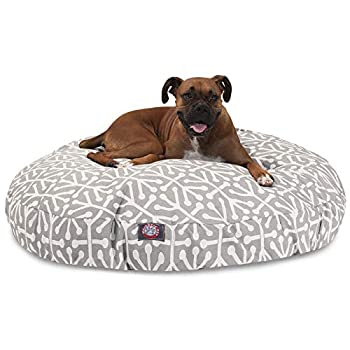 Image of Pet Supplies Gray Aruba Large Round Indoor Outdoor Pet Dog Bed With Removable Washable Cover By Majestic Pet Products