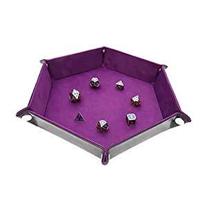 Dice Tray Metal Dice Rolling Tray for RPG, DND and Other Table Games, Holder Storage Box for Dice Set, Double Sided Folding Rectangle PU Leather and Purple Velvet