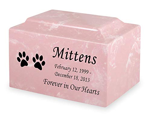 Pink Cat Paw Prints Pet Cremation Urn - Personalized - Cultured Marble - 50 Cubic Inch ()