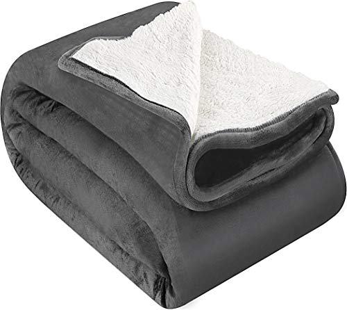 Utopia Bedding Sherpa Flannel Fleece Reversible Bed Blanket - Dual Sided Plush Fabric Extra Soft Brushed Microfiber - Lightweight, Cozy and Durable - Machine Washable (King, Grey)