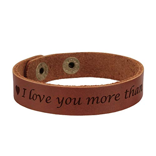 Personalized Engraved Leather Bracelet for Men Adjustable,Special Gifts for Boyfriend/Husband Anniversary Gifts for Men-I love you more than I miss you