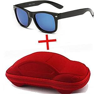Children UV400 Sunglasses Sun Glasses Sunglasses For Travel Boy Girl With Case,SilverandRedCase,50Centimeters