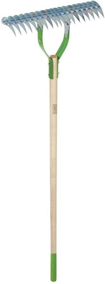 AMES 2915100 15-Inch Adjustable Self-Cleaning Thatch Rake with Hardwood Handle, 61