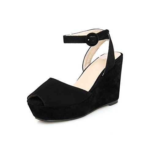 Black Solid Toe Peep Frosted AmoonyFashion Buckle Sandals High Womens Heels xRqwCvn