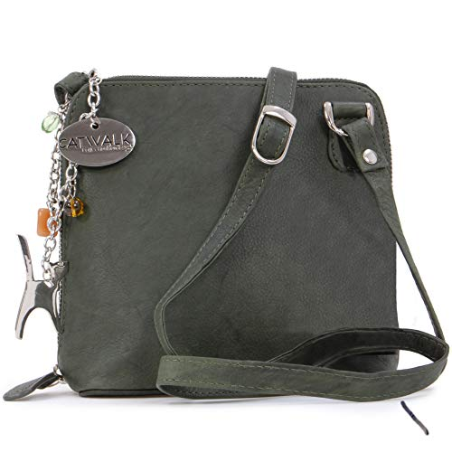 "Borsa in pelle a tracolla di Catwalk Collection""Lena"" Verde"