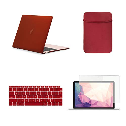 - TOP CASE 4 in 1 Bundle - Rubberized Hard Case, Keyboard Cover, Sleeve Bag, Screen Protector Compatible with 2018 Release MacBook Air 13 Inch with Retina Display fits Touch ID Model: A1932 - Wine Red