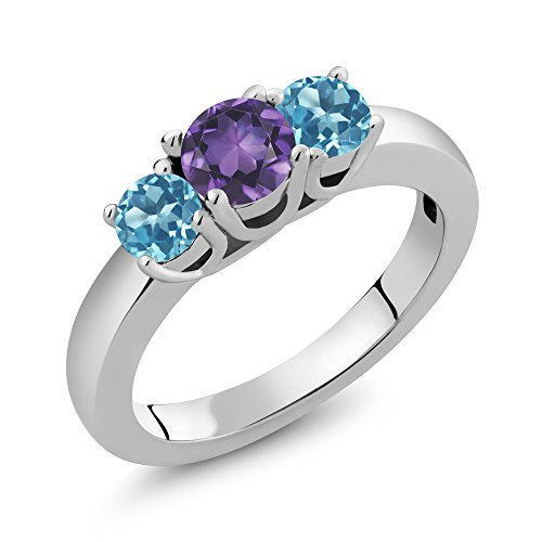 Amethyst Personalized Ring - Build Your Own Ring - Personalized 3 Birthstones Ring in Rhodium Plated 925 Sterling Silver