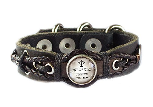 Jewish Blessing Shema Yisrael and Menorah Bracelet with Leather Cords (Men's Wrist: 7.5-9 Inches)