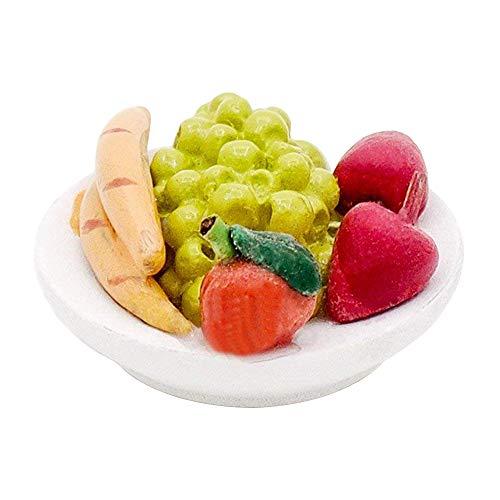 Odoria 1:12 Miniature Food Fresh Fruit Salad with Platter Dollhouse Kitchen Accessories