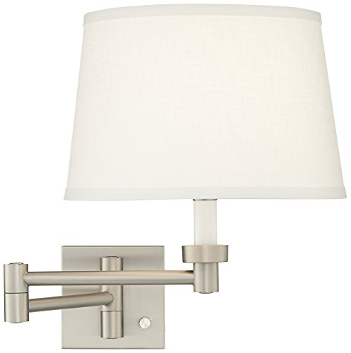 White Linen Shade Brushed Steel Swing Arm Wall Lamp ()