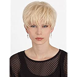 Crystal Human Hair Layered Boy Cut Monotop Womens Wig High Quality Petite Average Cap By Louis Ferre (VANILAICE)