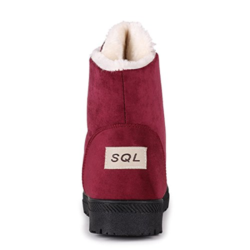 Platform Suede for Outdoor Shoes Booties Women Snow Flat Winter Boots Red Ankle Inornever Faux Sneaker Tgw5qxF0W