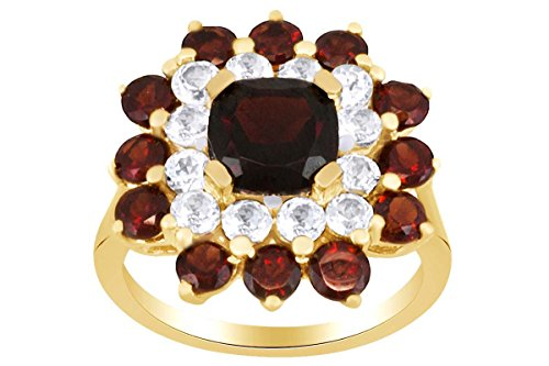- AFFY Simulated Garnet & Topaz Cluster Ring in 925 Sterling Silver (4.30 Cttw) Ring Size-7