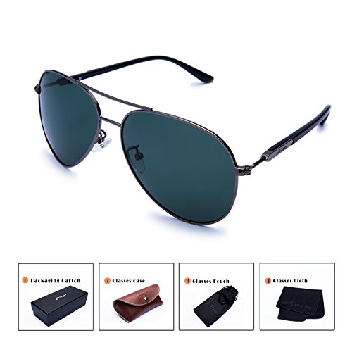 Aloyse Polarized Aviator Metal Frame Sunglasses for Men Women Driving Fishing Cycling Outdoor Glasses - UV protection (Gun, Dark - Protection As Same Uv Polarized The Is
