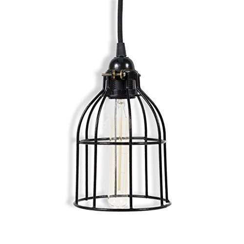 Rustic State Vintage Design Curved Metal Wire Cage Pendant Lamp with 15' Plug-in Fabric Cord Toggle Switch and Edison Light Bulb in ()