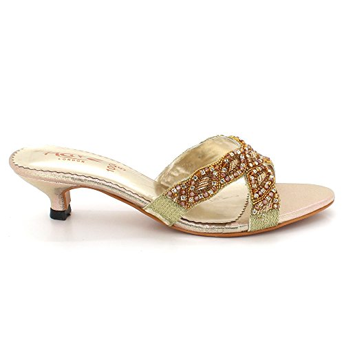 Slip Size on Evening Party Bridal Gold Comfort Wedding Low Heel Womens LONDON Kitten Diamante Shoes Sandals AARZ Ladies Rhinestones qYxSOTn6w