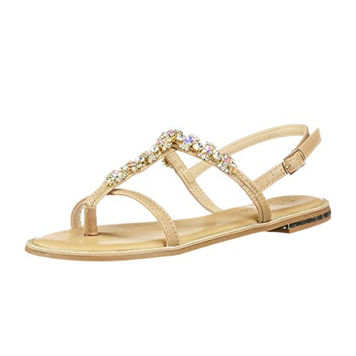 (DREAM PAIRS Women's Fantasia_5 Nude Fashion Rhinestones Design Sling Back Flat Sandals Size 8.5 M US)