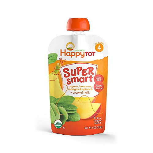 Happy Tot Organic Stage 4 Super Smart Organic Toddler Food Bananas/Mangos/Spinach Plus Coconut, 4 Ounce Pouch (Pack of 16) (Packaging May Vary) ()