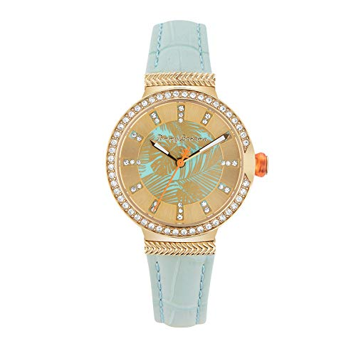 Tommy Bahama Women's Stainless Steel Japanese Quartz Leather Strap, Blue, 12 Casual Watch (Model: 279471GLD710)