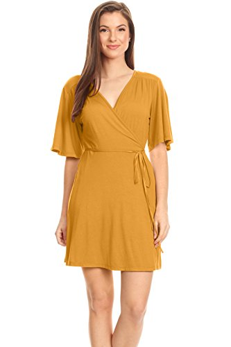Mustard Yellow Wrap Dress Plus Size and Reg V Neck Surplice Crossover Mustard Yellow T Shirt Dress (Size XLarge, Mustard) ()
